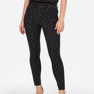 Express women's rhinestone skinny ankle jeans 8L
